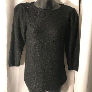 Zara Knit black sequence long sleeve top. M